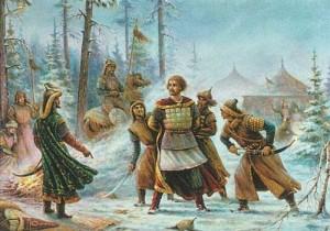 Пленение святого князя Василько. Миниатюра на эмали Куландина 1975 г.