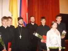 После вручения поздравлений губернатора. Красов Василий, Матвеев Алексей, иерей Олег Давидкевич