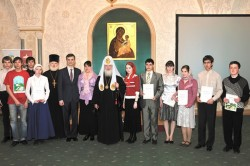 Общая фотография со Святейшим Патриархом. Первый слева - Матвеев Алексей, третий - Михайленко Ег