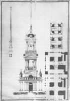 Проект колокольни Всехсвятской церкви Ростова Великого. Чертеж 1820 г. ГМЗРК Ар-578